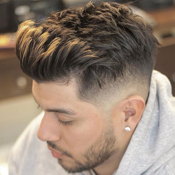kiểu tóc curly fringe high fade