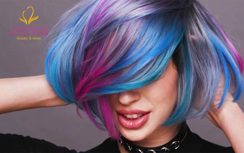 tóc nhuộm nhiều màu