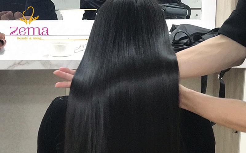 Khách hàng sau khi ép tóc tại Zema Việt Nam