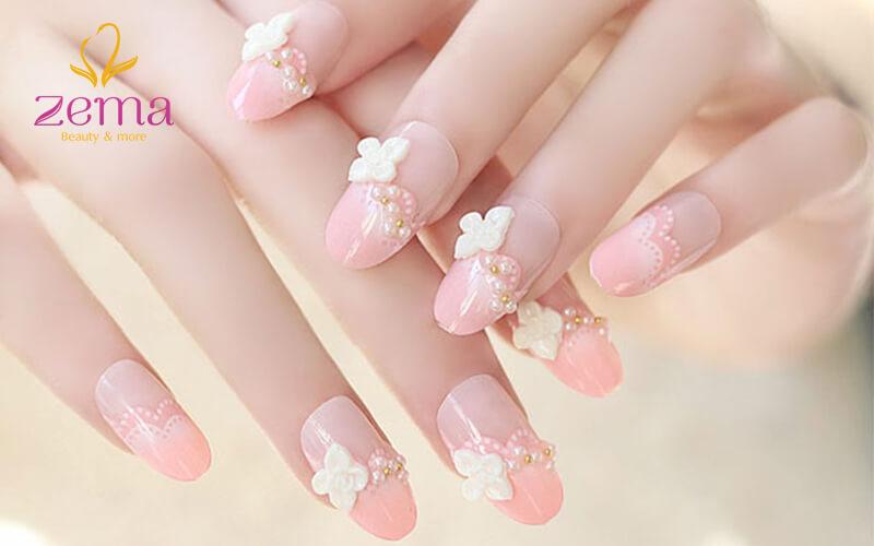 Mẫu nail nhúng bột kết hợp với nhiều tông màu