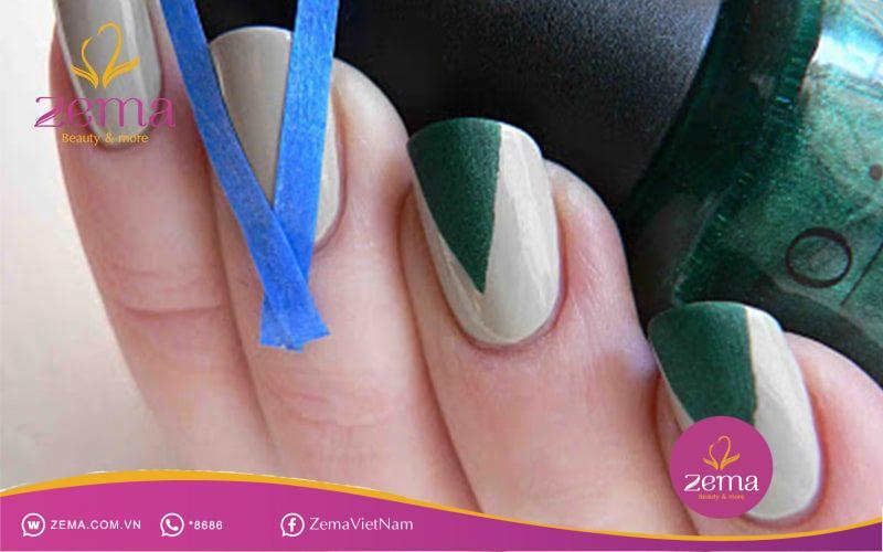 Mẫu nail sơn với hình tam giác ngược vô cùng độc đáo