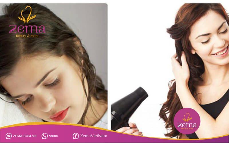 Hạn chế sử dụng máy sấy khi tóc còn ướt
