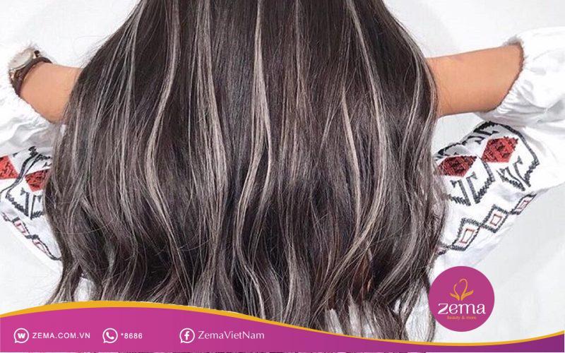Mái tóc highlight màu bạch kim
