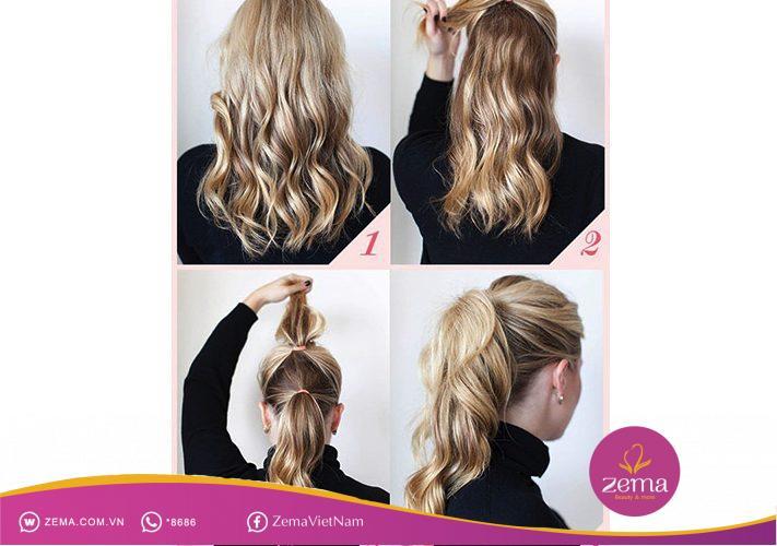 Kiểu tóc đuôi ngựa hai tầng thích hợp cho đám cưới