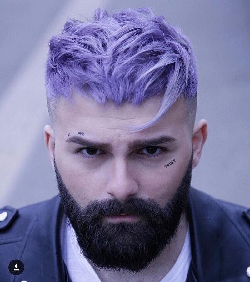 Các chàng cũng cực fashion với màu tóc tím khói