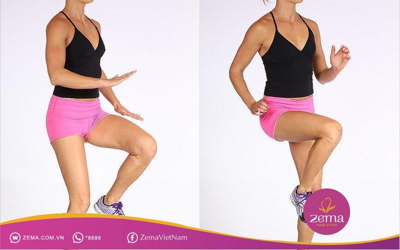 Chạy nâng cao đùi đốt cháy mỡ ở vùi đùi, mông và eo hiệu quả