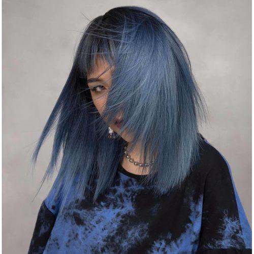 Tóc cắt layer kết hợp sắc khói xanh tạo kiểu tóc màu khói cá tính