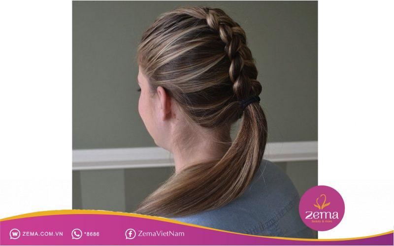 Kiểu tóc tết đuôi ngựa Hà Lan phù hợp cho tiệc cưới