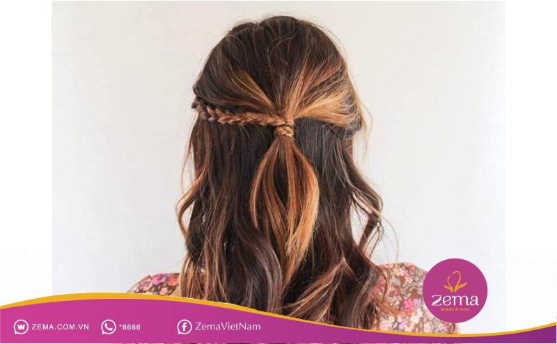 Kiểu tóc tết nữa đầu thích hợp cho đám cưới
