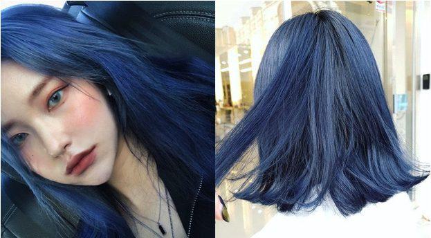 Tóc màu xanh dương làm sáng da cho cô nàng cá tính