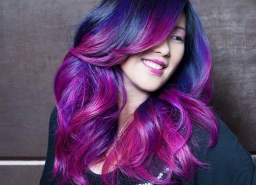 Nhuộm tóc màu tím ombre cho cô nàng vẻ ngoài phóng khoáng