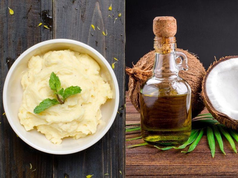 Hỗn hợp khoai tây dầu dừa trị thâm quầng