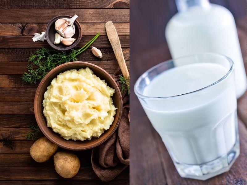Pha sữa tươi vào khoai tây nghiền đắp mắt