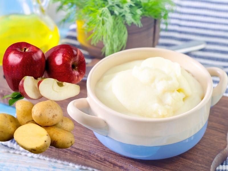 Táo và khoai tây xay lên để đắp da mặt
