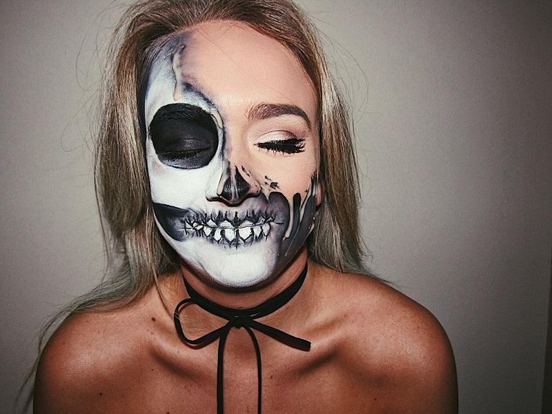 Kiểu trang điểm halloween đáng sợ với Vibrant Skeleton