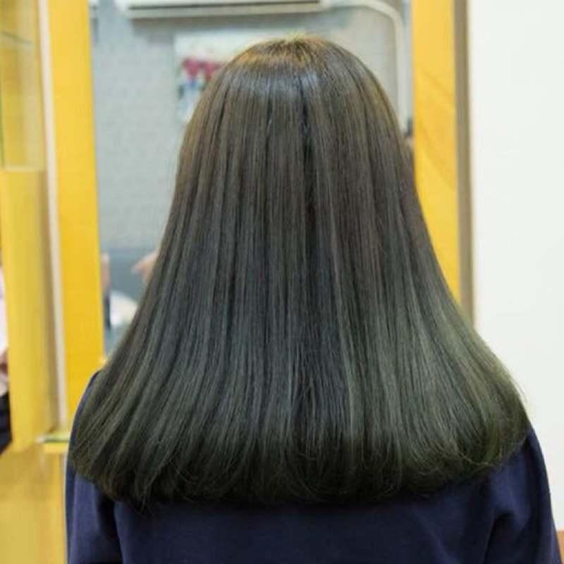 Tóc đen ánh xanh rêu