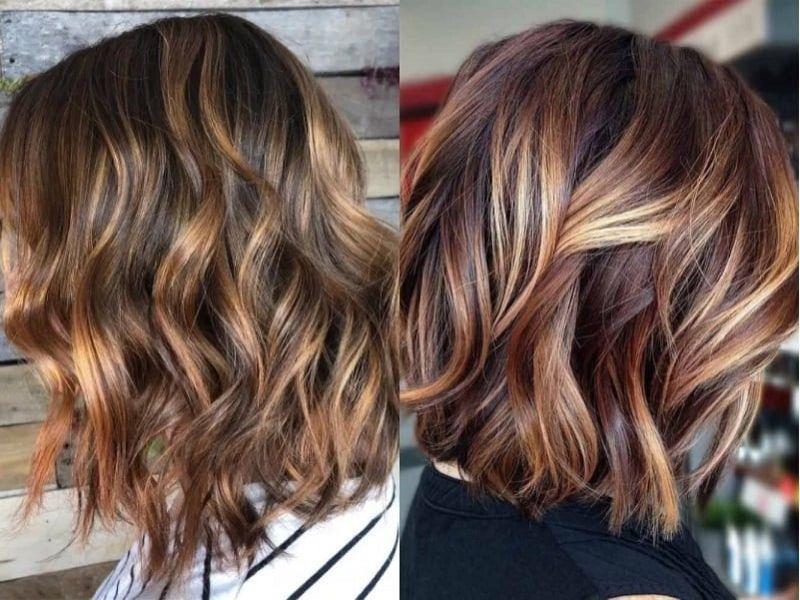 Kiểu tóc xoăn gợn sóng caramel