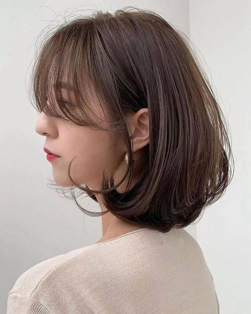 Tóc ngắn mái thưa uốn cụp rất phổ biến tại xứ sở Kim Chi