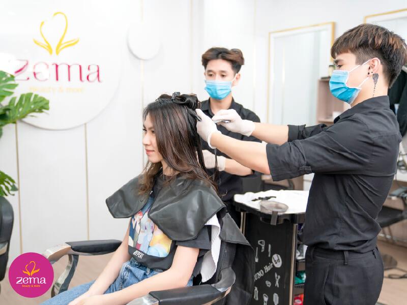 Quy trình chuẩn phủ bóng tóc tại Zema Việt Nam