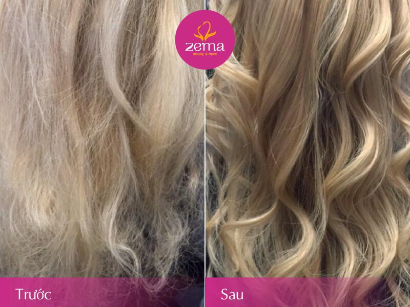 Ảnh khách hàng trước và sau khi thực hiện dịch vụ phục hồi tóc