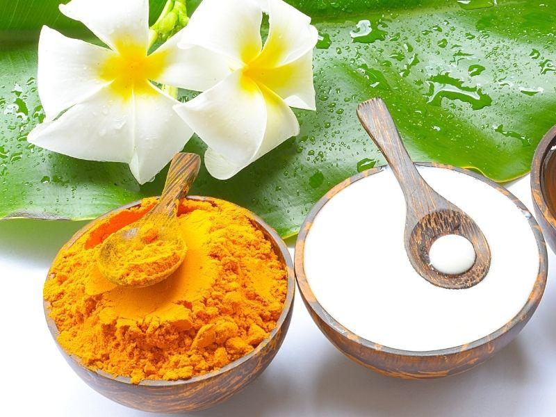 Nghệ và sữa chua đều có thể giúp mụn nhanh xẹp và dưỡng da sau mụn