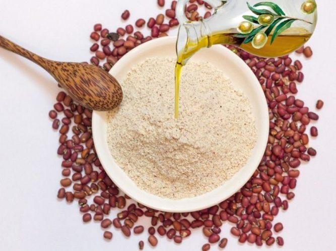 Dầu oliu nguyên chất dùng kết hợp với bột đậu đỏ