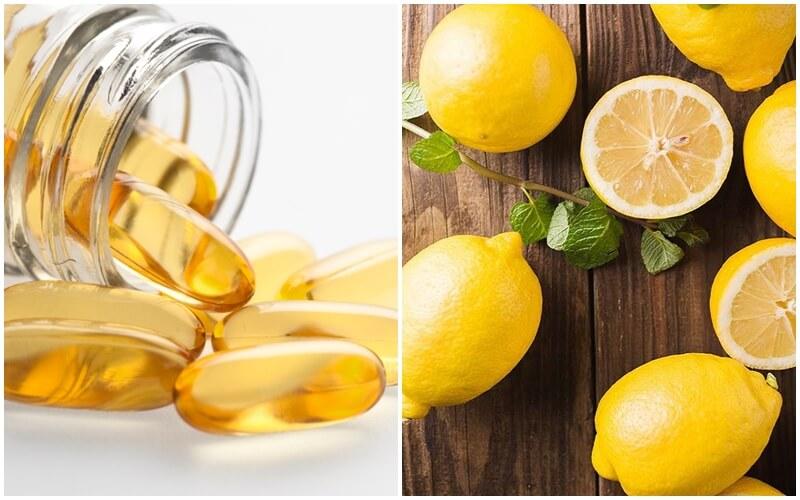 Dùng vitamin e và chanh để tắm trắng