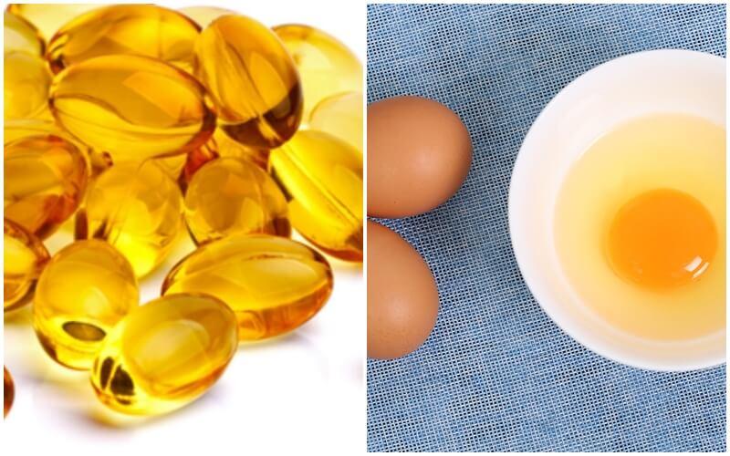 Dùng vitamin e và trứng gà để tắm trắng.